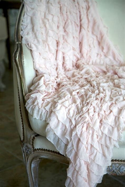 shabby chic blush pink ruffled throw romantic cottage