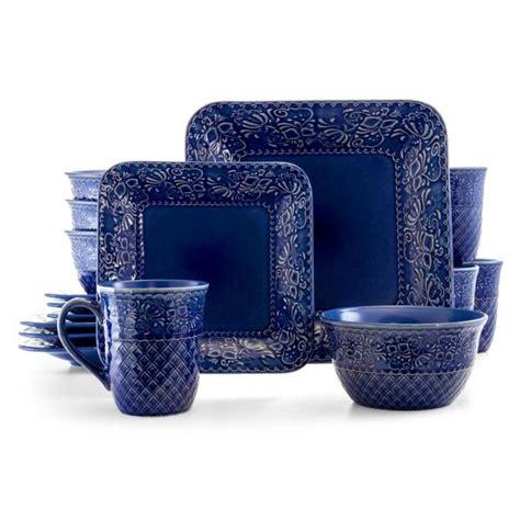 elama indigo lotus  piece classic blue stoneware