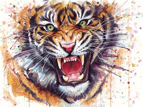 Painting Tiger ferocious tiger watercolor painting by olechka01 deviantart tiger roar tiger