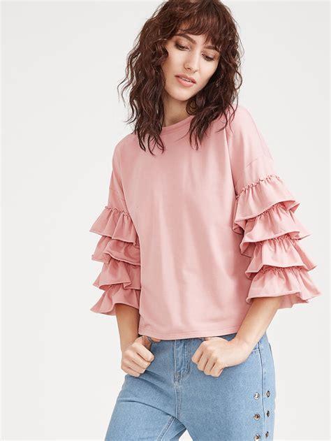 Pink Ruffle Sleeve Blouse by Pink Layered Ruffle Sleeve T Shirt Makemechic