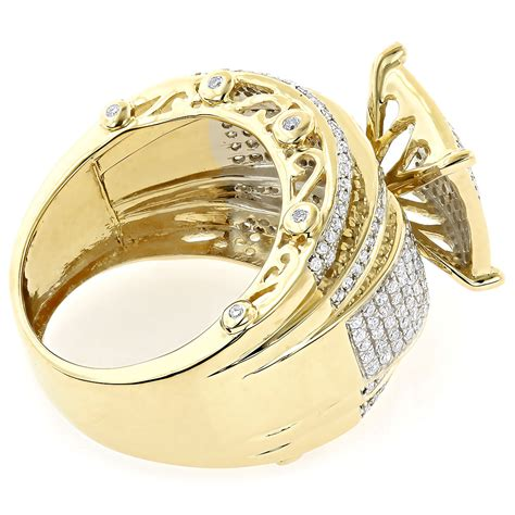 wide engagement ring with diamonds 10k gold 1 29ct