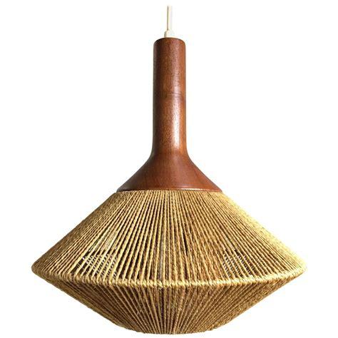 Mid Century Modern Danish Pendant Light In Jute And Teak Scandinavian Pendant Lighting
