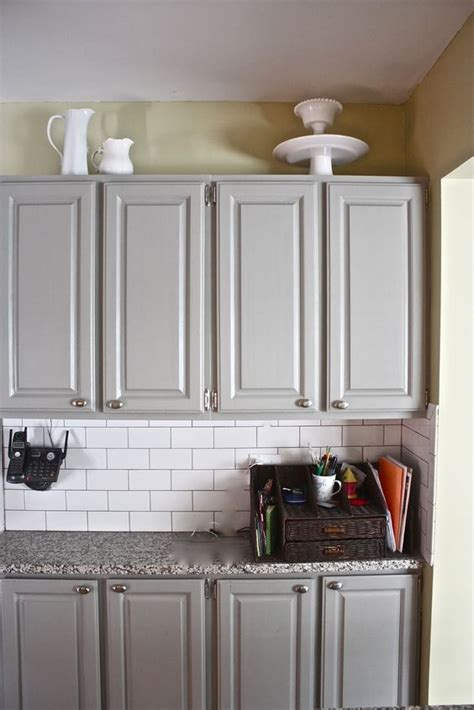 painted cabinets bedford gray by martha stewart white subway tiles with gray grout