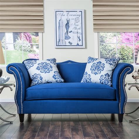 royal blue furniture furniture of america othello royal blue loveseat