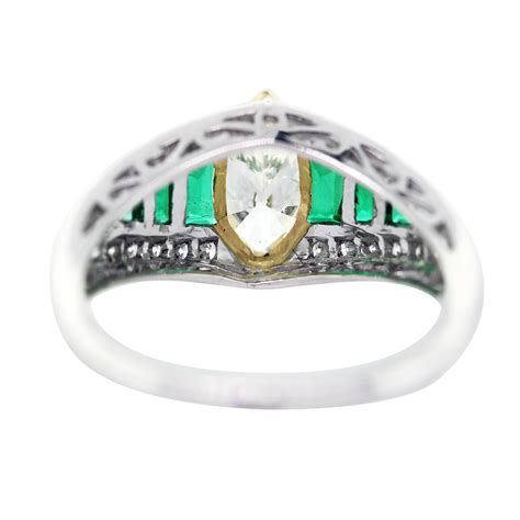 emerald platinum yellow gold vintage style