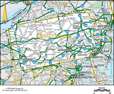 road map of pennsylvania pennsylvania map