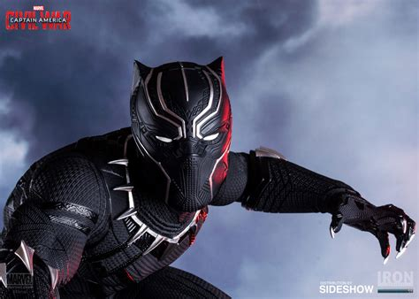 black panther marvel marvel black panther polystone statue by iron studios