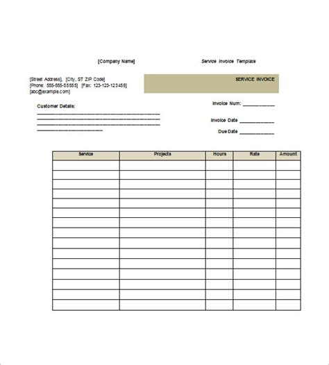 invoice template doc service invoice templates 11 free word excel pdf