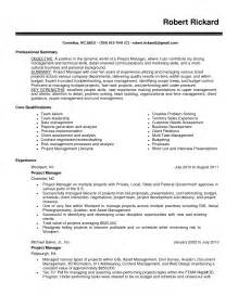 project manager resume sles free resume sles