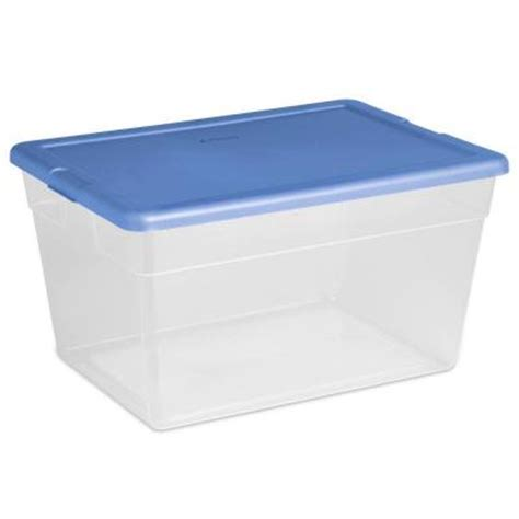 sterilite 56 qt storage box in blue clear plastic