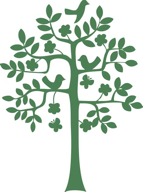 Tree Outline Green by Green Trees Wall Clipart Clipground