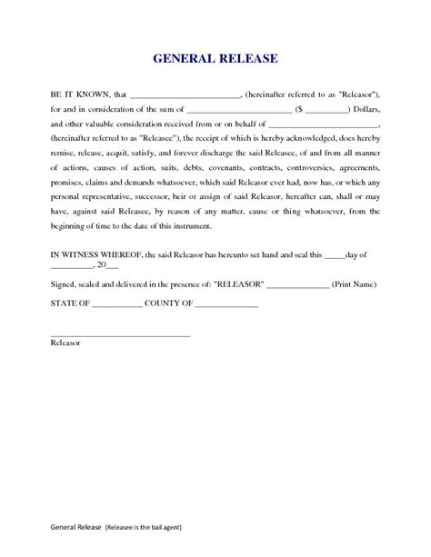 general release form free printable documents