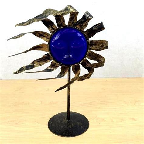 cobalt blue tea light candle holders beautiful 10 quot x 13 quot vintage cobalt blue art glass sun face