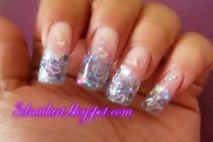 3d nail art falling hearts