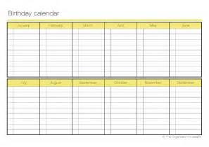 free birthday calendar template excel blank birthday chart calendar template 2016
