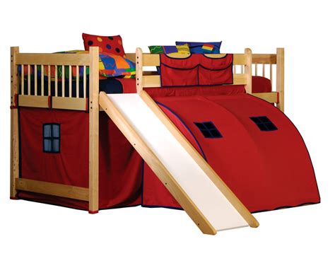 Toddler Bunk Bed With Slide Toddler Loft Bed With Slide Schoolhouse Junior Loft With Slide Pecan Loft Beds At Hayneedle