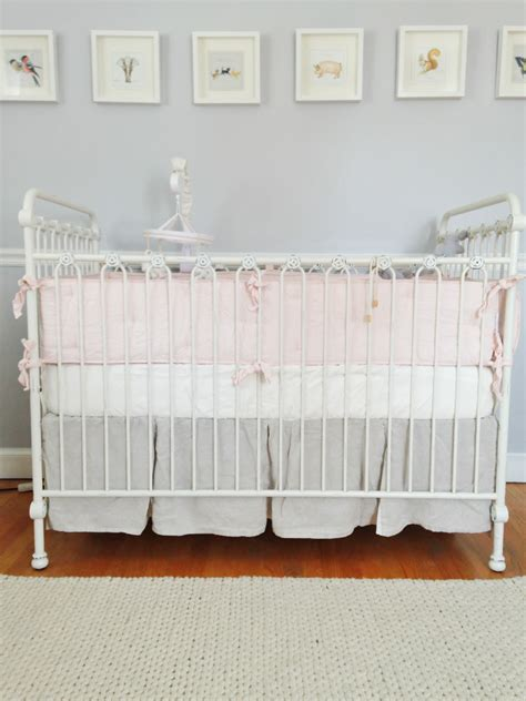 Distressed Gray Crib Adele Lou S Soft Grey And Pale Pink Nursery Project Nursery