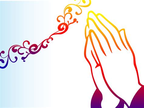 Praying Hands PPT Backgrounds   Orange, Religious
