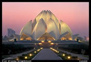 Bahai Lotus Temple Picture Photo Lotus Shaped Bahai Temple At Twilight New