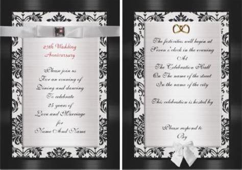 25th wedding anniversary invitations ideas 25th wedding anniversary invitations and celebrations tips