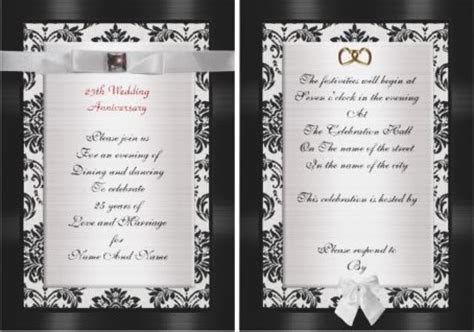 25th Wedding Anniversary Invitations and Celebrations Tips