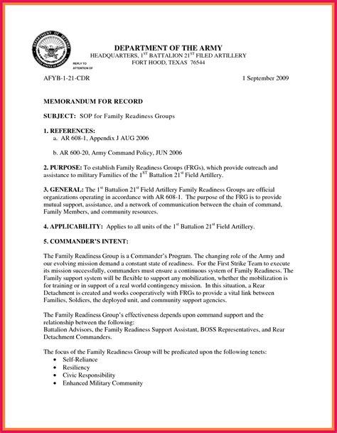 army sop template memorandum for record template sop exles