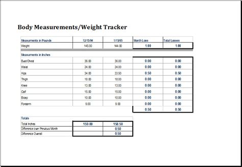 measure template measurement and weight tracker template excel templates