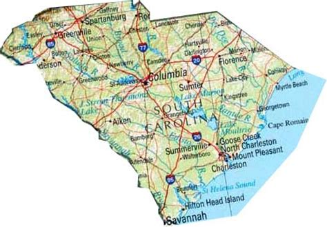 south carolina state map map of south carolina sc state map