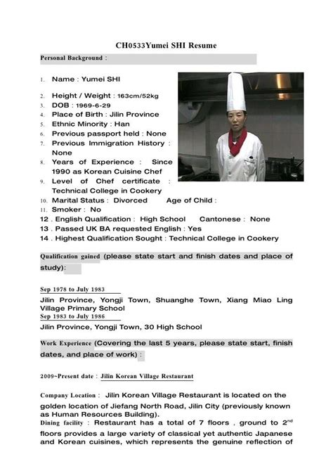 Cv Exles Free by 18831 Chef Resumes Exles Executive Chef Resume Sle
