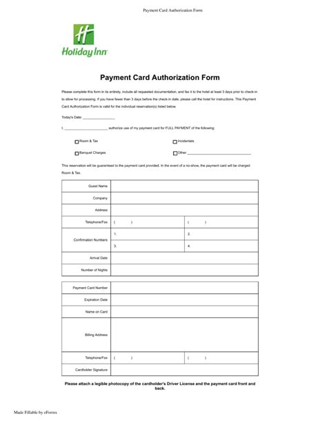 hotel credit card authorization form template free inn credit card authorization form pdf