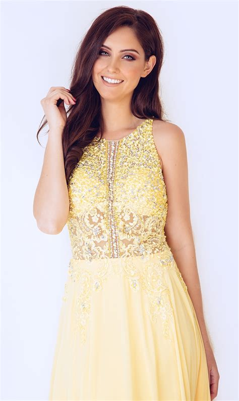 high neck chiffon prom dress with beaded bodice at