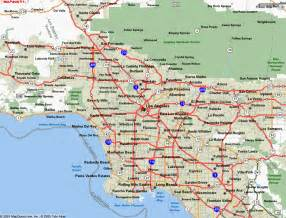 Los Angeles On Map by Map Of Los Angeles California Vacations Travel Map