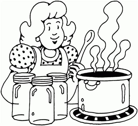 People And Places Coloring Pages Woman Cooking Cooking Coloring Page
