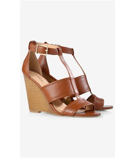 express sandals lyst express cognac wedge sandal in brown