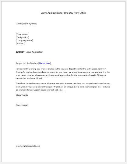 application letter for office leave leave application letter templates formal word templates