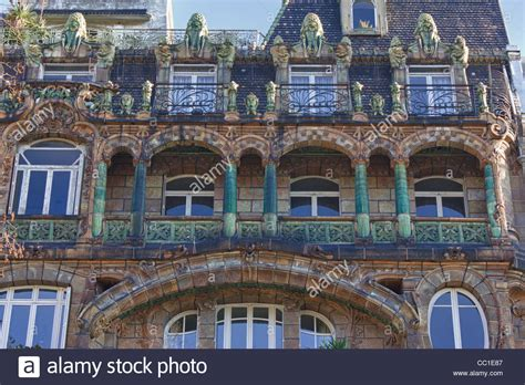 house construction stock photo image of framing detail of facade art nouveau building at avenue rapp no