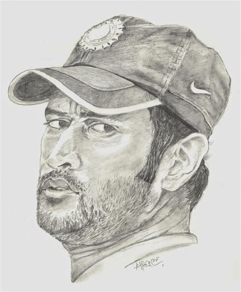 M S Dhoni Sketches by Santanu Sen Sketches