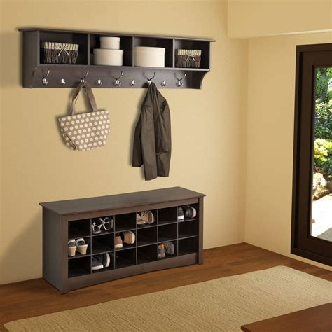 entry way shelf espresso 60 inch wide hanging entryway shelf