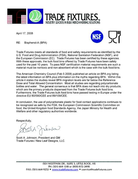 Guarantee Letter For Food Grade safety certifications brencar