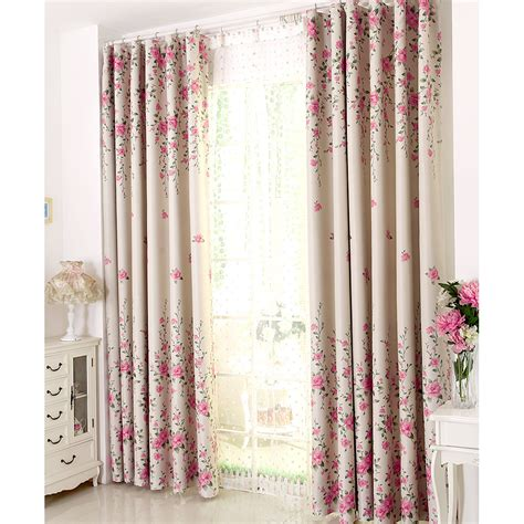 Bedroom Curtains On Sale Pink Floral Print Poly Cotton Blend Country Curtains For