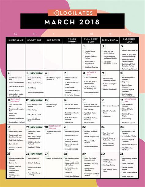 workout calendar march 2018 workout calendar blogilates