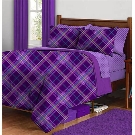 purple plaid comforter latitude purple plaid complete bed in a bag bedding set