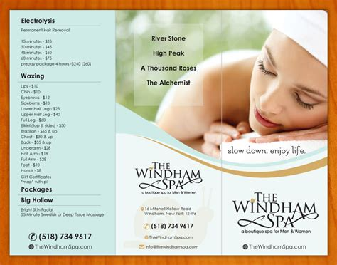 spa brochure upmarket playful brochure design for the windham spa by