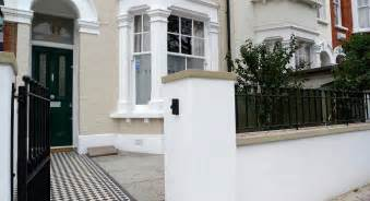 Metal Raised Garden Beds - victorian black and white mosaic tile path york stone new front garden wall metal rail and gate