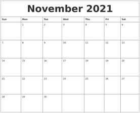 november 2021 birthday calendar template