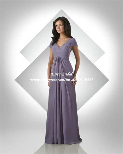 Wholesale V neck Pleated Chiffon Long Purple Bridesmaid