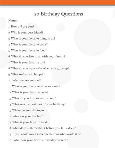 biography interview questions pdf birthday interview questions for kids or grownups great