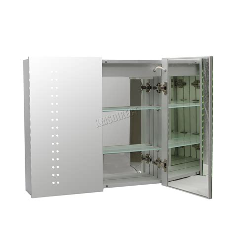 led illuminated bathroom mirror cabinet foxhunter led illuminated mirror bathroom cabinet steel