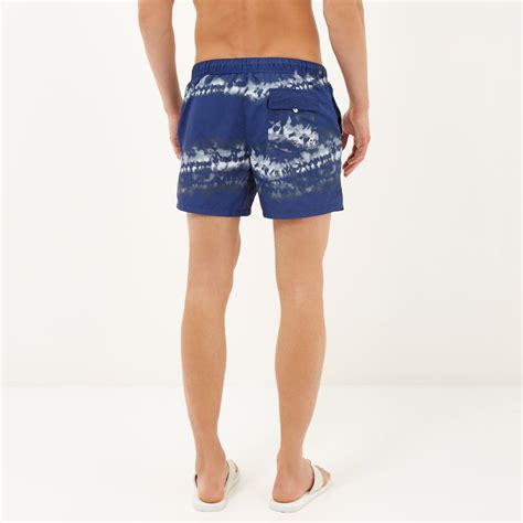 river island navy tie dye swim shorts in blue for lyst