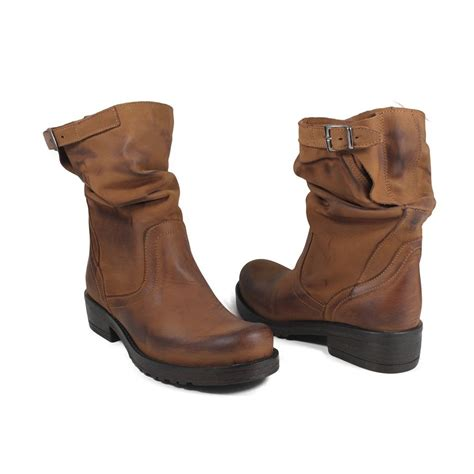 tan biker boots woman s low biker boots tan genuine leather made in italy